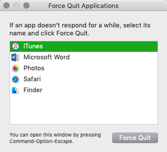 how to shut a not responding application in mac