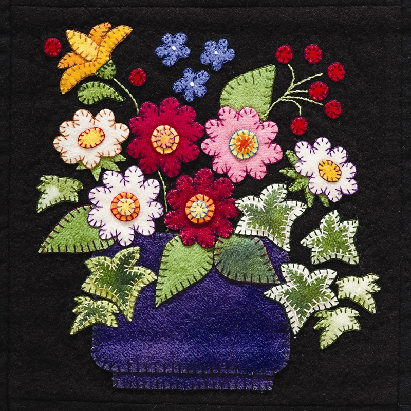 applique leaves and flower quilt patterns