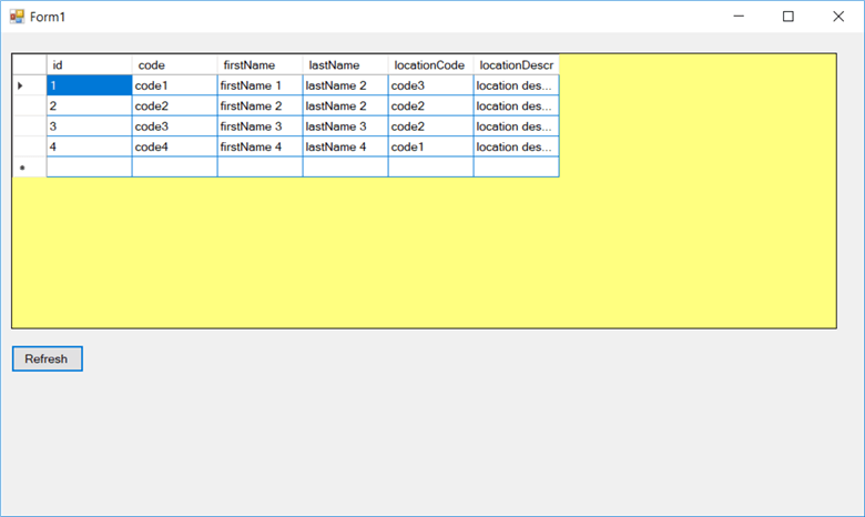 datagridview example in windows application