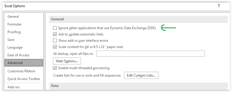 ignore other application that use dynamic data exchange dde